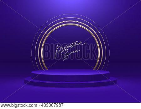 Blue Podium For Premium Product Presentation. Podium Stage With Golden Arch. Deep Blue Minimal Scene