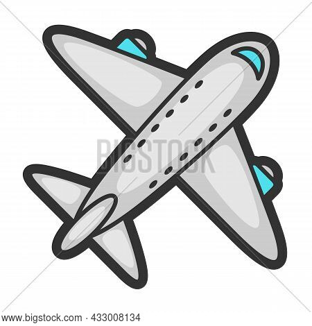 Illustration Of Airplane In Cartoon Style. Cute Funny Object.