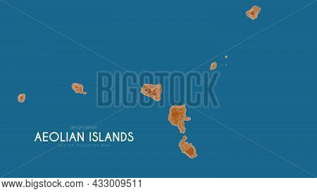 Topographic Map Of Aeolian Islands, Italy. Vector Detailed Elevation Map Of Island. Geographic Elega