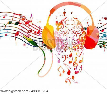 Colorful Human Brain With Musical Notes And Headphones. Musical Poster For Mental Wellbeing, Listeni