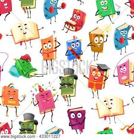 Cartoon Textbooks, Bestseller Books Happy Characters Seamless Pattern, Vector Background. School Lib