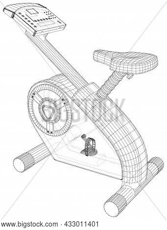 Stationary Bicycle On A White Background. Eps10 Format. Vector Created Of 3d