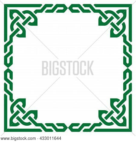 Celtic Vector Braided Green Frame Design, Irish Traditional Square Border Perfect For Greeting Card
