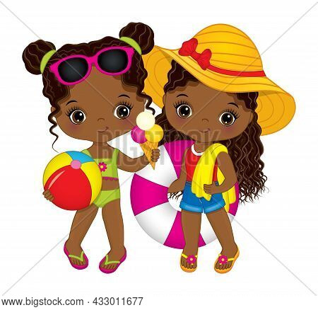 Cute, Little African American Girls Having Pool Party. Black Little Girl With Beach Ball, Ice Cream,