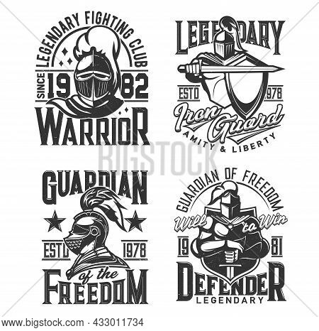 Knight Warrior In Armor T-shirt Vintage Print. Fighting Club, Guard Protection Or Freedom Defender C