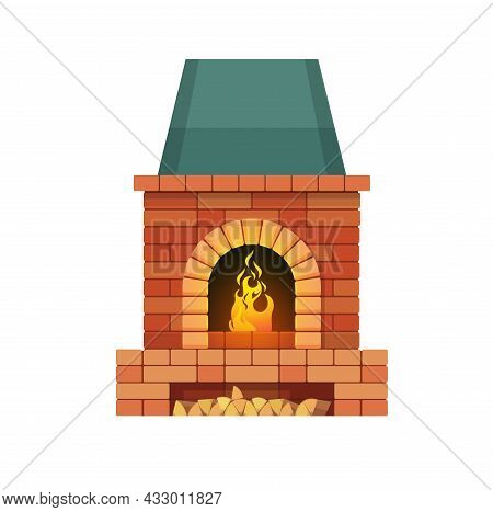 Brick Fireplace With Firewood And Burning Fire. Vector Traditional Style Indoors Chimney With Place