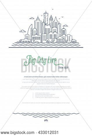 City Landscape Template. Thin Line Cityscape, Downtown Or Business District With High Skyscrapers. O
