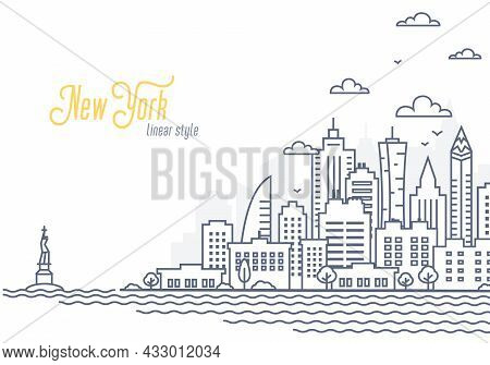 New York City Landscape Template. Thin Line Cityscape, Manhattan Or Downtown With High Skyscrapers.
