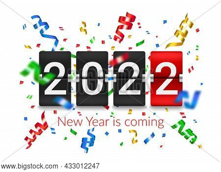2022 New Year Flip Countdown Counter Board With Confetti Explosion. New Year Holiday Celebration Par