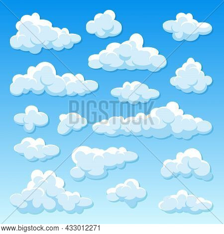 Various Round Clouds With Shadow On Blue Gradient Background. Summer Sky Panorama. Simple Cartoon Cl