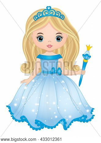 Cute Beautiful Princess Wearing Blue, Long Dress And Gold Tiara Holding Magic Wand. Princess Is Blon