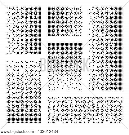 Pixel Disintegration, Decay Effect. Various Rectangular Elements Made Of Round Shapes. Dispersed Dot