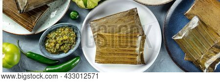Tamales Oaxaquenos Panorama, Traditional Dish Of The Cuisine Of Mexico, Various Stuffings Wrapped In