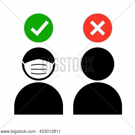 Mask Required Mouth Cover Facemask Checkmark Icon. Mas Entry Vector Icon
