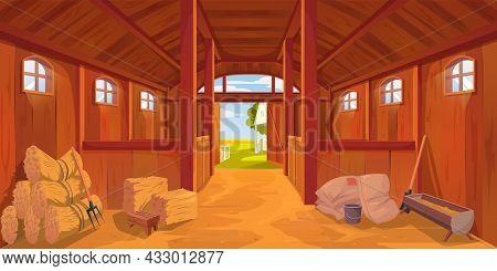 Farm Stable Or Barn Interior With Sand Floor, Vector Cartoon Hayloft Haystacks On Wooden Ranch. Farm