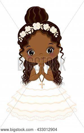 First Communion For African American Girl. Cute Girl Praying, Holding Cross. Little Girl Wearing Com