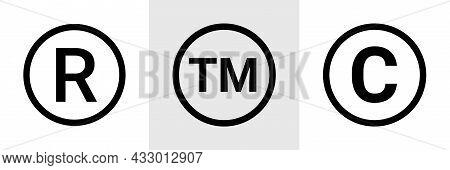 Trademark Copyright Symbol Logo. Trade Mark Sign Circle Intellectual Legal Property Register Icon