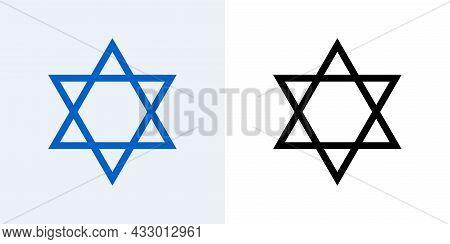 Star Of David Vector Jewish Icon. Israel Jew David Star Symbol Shield