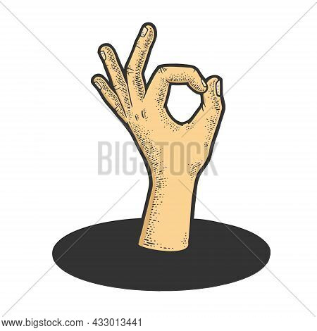 Ok Gesture From Underground Hole Color Sketch Engraving Vector Illustration. T-shirt Apparel Print D