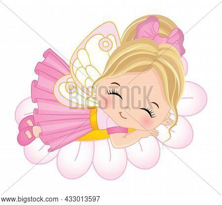 Cute Little Fairy Wearing Pink Dress Sleeping On Flower. Little Fairy Is Blond. Little Fairy Vector