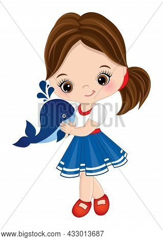 Vector Cute Little Girl Wearing Nautical Dress Holding Baby Whale. Little Brunette Girl With Hazel E
