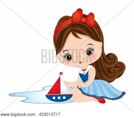 Vector Cute Little Girl Wearing Nautical Dress Playing With Toy Ship. Little Brunette Girl With Haze