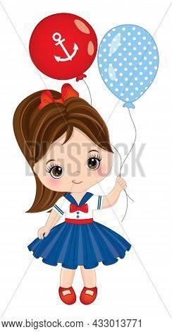Vector Cute Little Girl Wearing Nautical Dress Holding Air Balloons. Little Brunette Girl With Hazel