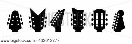 Guitars Headstock Vector Electric Neck Abstract Icon. Guitar Head Acoustic Rock Instrument Logo Icon