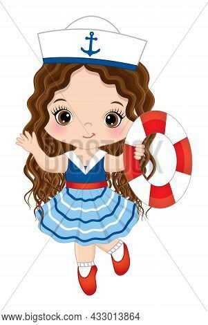 Vector Cute Little Girl Wearing Nautical Dress Running With Lifebuoy. Cute Girl Is Brunette With Lon