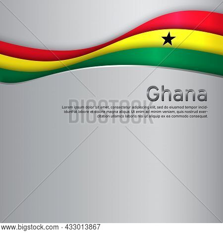 Abstract Waving Ghana Flag. Paper Cut. Creative Metal Background For Design Of Patriotic Holiday Car