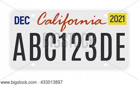 California License Vector Plate Sign. American Metal Road California License Plate Symbol Template