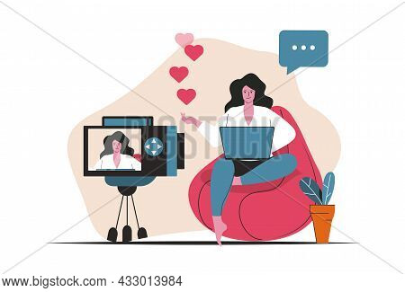 Blogging Concept Isolated. Video Content Creation, Online Promotion, Blogger Work. People Scene In F