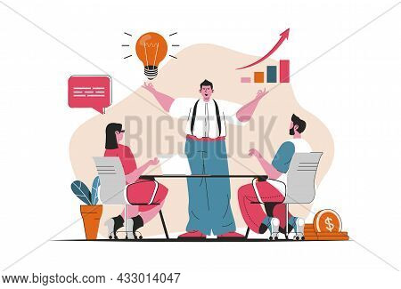 Business Growth Concept Isolated. Business Project Development, Growth Of Profits. People Scene In F
