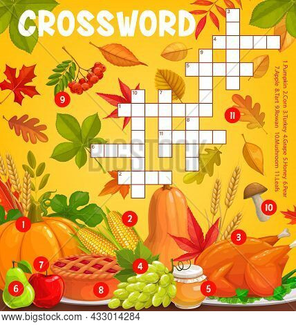 Thanksgiving Meals And Autumn Harvest With Falling Leaves, Vector Crossword Puzzle Game Grid. Find W