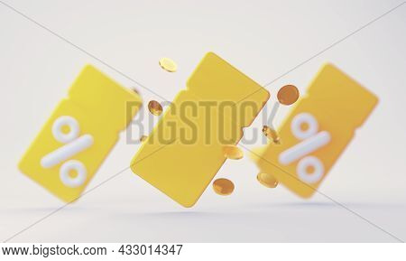 Empty Yellow 3d Coupon With Interest On Various Discounts And Sales Of Goods And Online Movie Ticket
