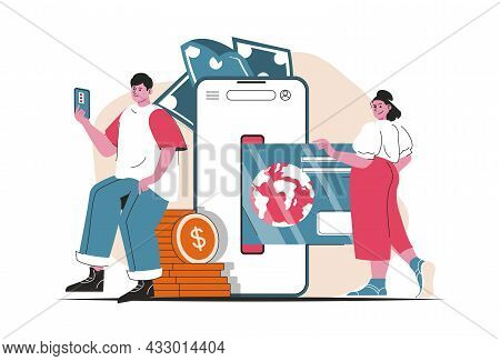 Mobile Banking Concept Isolated. Money Transactions And Payments In Mobile App. People Scene In Flat