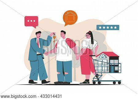 Mortgage Concept Isolated. Bank Loan For Purchase Of House, Realtor Services. People Scene In Flat C