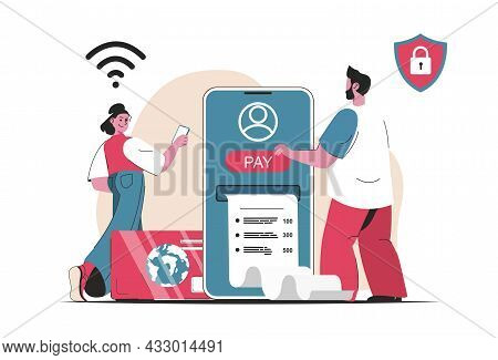 Online Payment Concept Isolated. Payment By Card And Banking Services In Mobile App. People Scene In