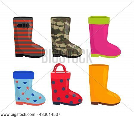 Set Of Bright Rubber Boots Icons For Men, Women And Children. Military Princess, Child's Drawing, Ye