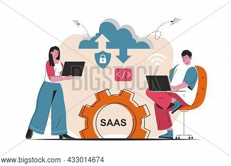 Saas Concept Isolated. Candidate Users Buy Software Licenses, Use Cloud Technologies. People Scene I