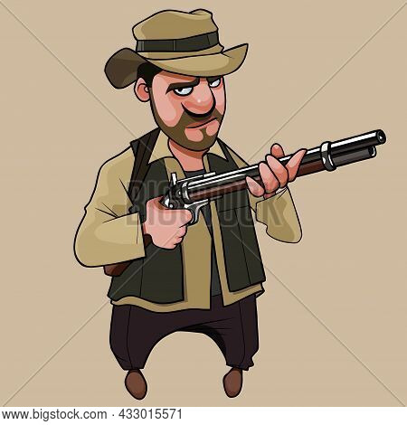 Cartoon Serious Man Hunter Wearing Hat And Holding A Gun