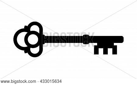 Old Key Vector House Icon Logo. Old Key Silhouette Antique Lock Illustration