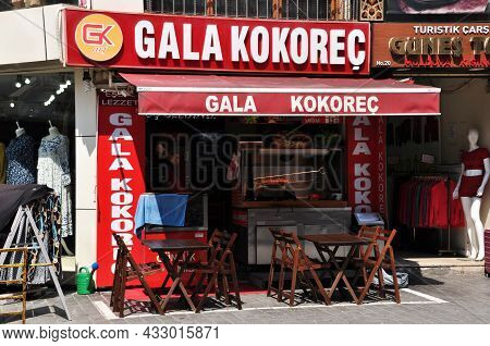Street Food Cafe In Istanbul. Cafe Tables And Chairs On The Street. July 08, 2021, Istanbul, Turkey.