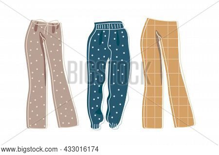 Hand-drawn Clothing Design Drawing. Collection Of Three Womens Trousers For Home, Recreation, Walks,