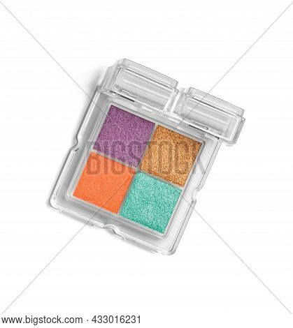 Close Up Of Cocorful Make Up Powder On White Background