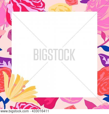 Feminine floral square frame with pink roses on white background