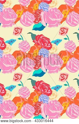 Pink spring floral pattern with roses colorful background