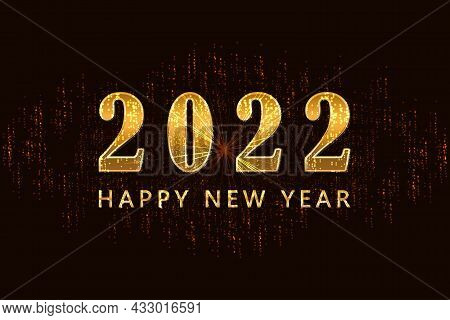 2022 Happy New Year. Golden Background With Happy New Year Wishes For Flyer, Poster, Calendar Header