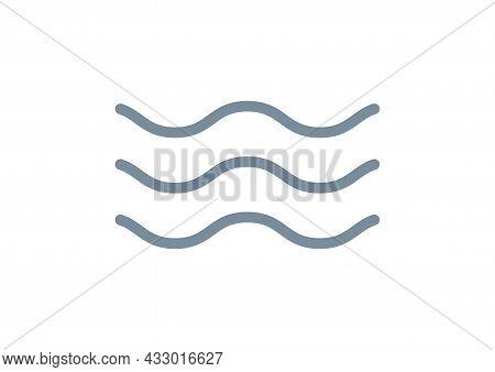 Wave Line Icon Water Vector Sea Flat Ocean Graphic Symbol. Wave Minimal Logo