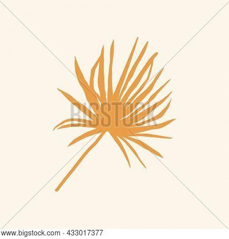 Palm leaf graphic summer doodle graphic in orange